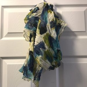 Floral blue/green scarf